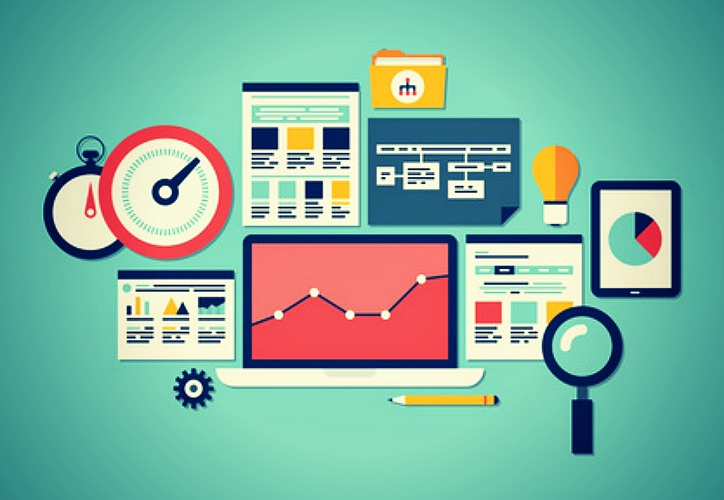 Flat design vector illustration icons set of website SEO optimization, programming process and web analytics elements. Isolated on turquoise background