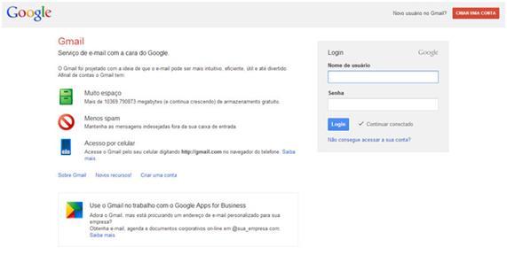 criar gmail passo 1